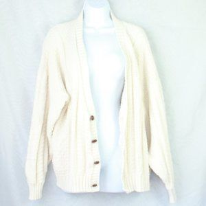 Cream White Oversized Grandpa Knitted Cardigan XL